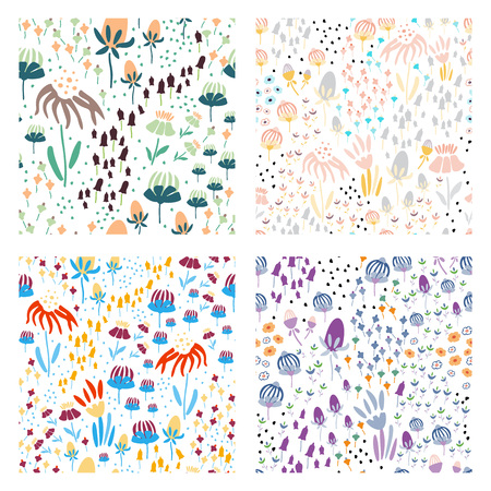 Trendy set Floral seamless pattern in the many kind of flowers. Botanical Motifs scattered random. Printing with in hand drawn style. Printing with in hand drawn style on white background.