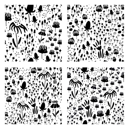 Trendy set Floral seamless pattern in the many kind of flowers. Botanical Motifs scattered random. Printing with in hand drawn style. Printing with in hand drawn style on white background. Archivio Fotografico - 115008108