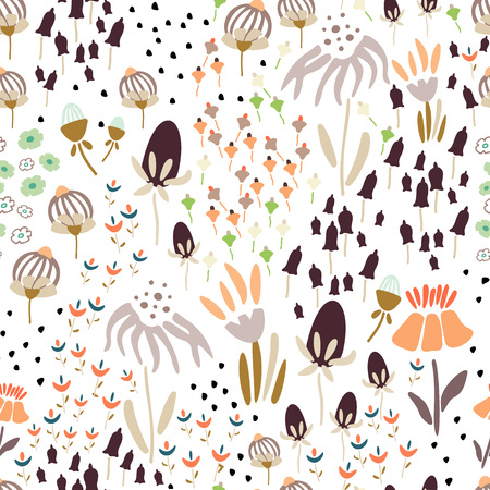 Trendy Floral pattern in the many kind of flowers. Botanical Motifs scattered random. Seamless vector texture. Printing with in hand drawn style. Printing with in hand drawn style on white background. Archivio Fotografico - 115008110