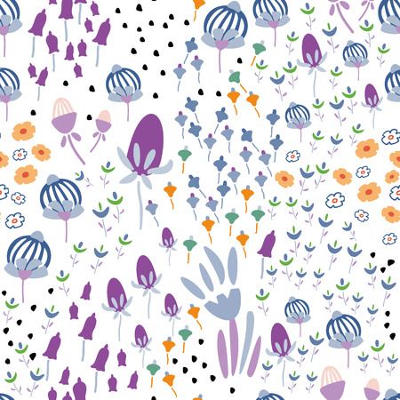 Trendy Floral pattern in the many kind of flowers. Botanical Motifs scattered random. Seamless vector texture. Printing with in hand drawn style. Printing with in hand drawn style on white background.