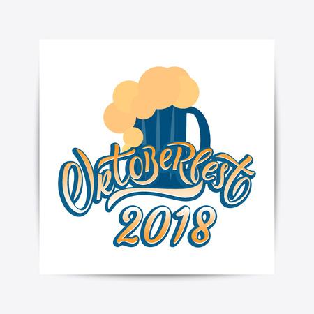 Hand drawn Oktoberfest 2018 typography lettering poster. Illustration of Bavarian festival design.Blue, white lettering typography for logo, poster, card, postcard, logo, badge Ilustrace