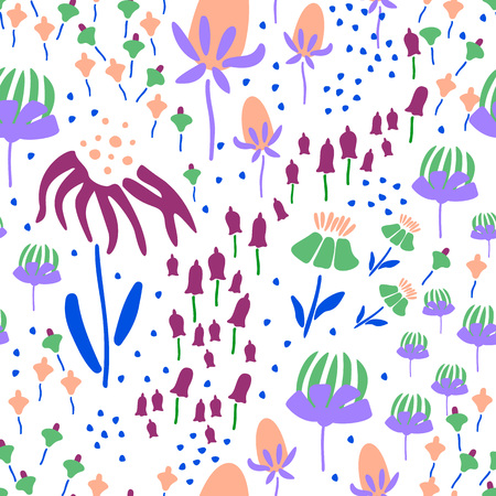 Trendy Floral pattern in the many kind of flowers. Botanical Motifs scattered random. Seamless vector texture. Printing with in hand drawn style. Printing with in hand drawn style on white background. Archivio Fotografico - 110081400