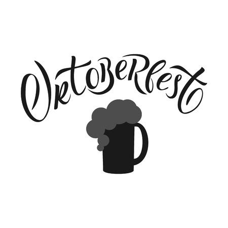 Hand drawn Oktoberfest typography lettering poster. Illustration of Bavarian festival design. lettering typography for logo, poster, card, postcard, logo, badge