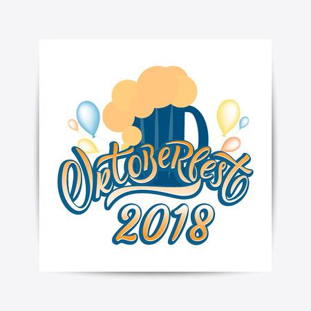 Hand drawn Oktoberfest 2018 typography lettering poster. Illustration of Bavarian festival design.Blue, white lettering typography for logo, poster, card, postcard, logo, badge  イラスト・ベクター素材