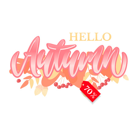Trendy and elegant autumn background with lettering Hello autumn. Different colored autumn leaves background. Simple minimalistic style. Illustration