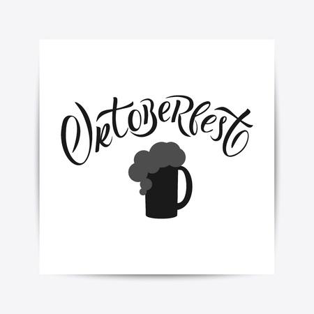 Hand drawn Oktoberfest typography lettering poster. Illustration of Bavarian festival design.Blue, white lettering typography for logo, poster, card, postcard, logo, badge Illustration