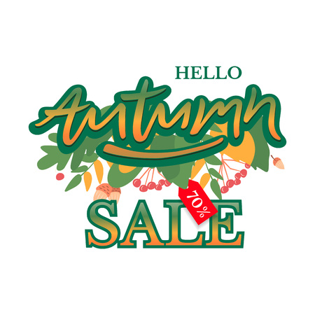 Trendy and elegant autumn background with lettering Hello autumn.Sale banner template Fall seasonal poster or card. Different colored autumn leaves background. Simple minimalistic style.
