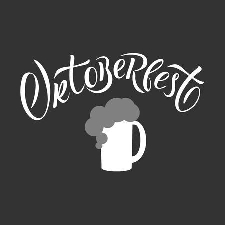 Hand drawn Oktoberfest typography lettering poster. Illustration of Bavarian festival design. White lettering typography for logo, poster, card, postcard, logo, badge