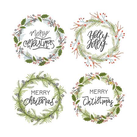 Vector gran colección de frases y citas navideñas escritas a mano. Frases de letras caligráficas elegantes con guirnaldas navideñas.