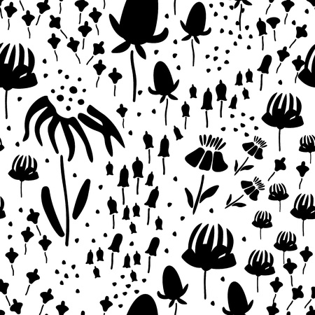 Trendy Floral pattern in the many kind of flowers. Botanical Motifs scattered random. Seamless vector texture. Printing with in hand drawn style. Printing with in hand drawn style on white background. Archivio Fotografico - 111680616