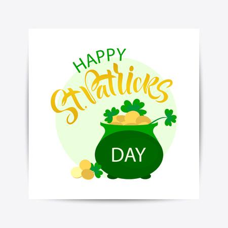 illustration of Happy Saint Patrick's Day logotype. Hand sketched Irish celebration design. Flyer, brochure, holiday invitation, corporate celebration. shamrock, pot with gold coins. Stock Vector - 114442518