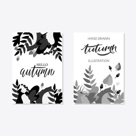 Trendy and elegant autumn background with autumn leaf flat style, simple minimalistic style banner template collection Fall season poster, card set