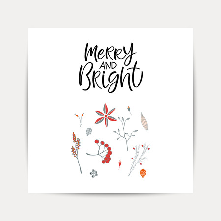 Ornate square winter holidays greeting in Merry Christmas. Vector seasonal postcard design. Illustration