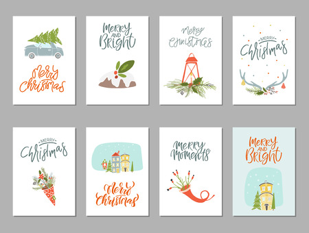 Collection of 8 Merry Christmas and Happy New Year gift cards. Set of hand drawn holiday template Illustration