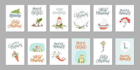 Collection of 12 Merry Christmas and Happy New Year gift cards. Set of hand drawn holiday template