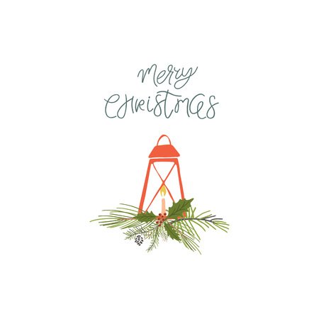 Collection Merry Christmas and Happy New Year element. Set of hand drawn holiday template