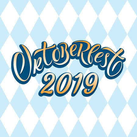 Hand drawn Oktoberfest 2019 typography lettering poster. Illustration of Bavarian festival design.Blue, white lettering typography for logo, poster, card, postcard, logo, badge Illustration