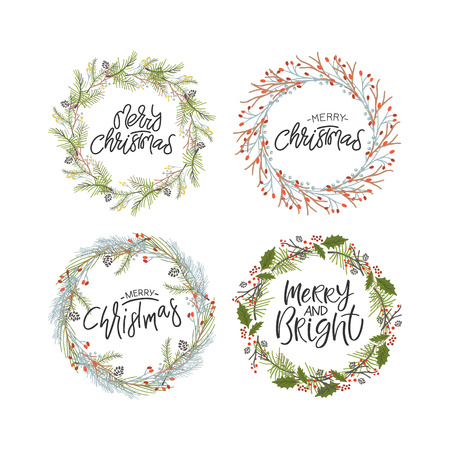 Vector big collection of hand written christmas phrases and quotes. Elegant calligraphic lettering phrases with christmas wreaths.