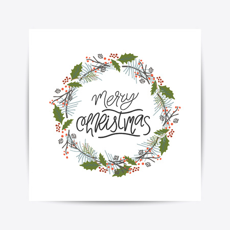 Vector hand drawn Christmas card. Elegant minimalist holiday card. Celebration quote for postcard, flyer, placard, greeting, banner.