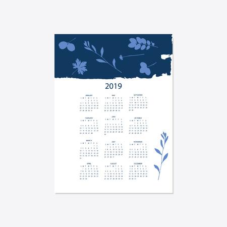 Calendar 2019. Stock vector. Floral bright 2019 calendar. Flower decorative elegant calendar style cyanotype.