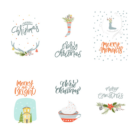 Collection Merry Christmas and Happy New Year element. Set of hand drawn holiday template for