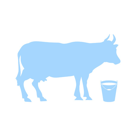 Vector silhouette of cows, isolated on white background. Bucket of milk Ilustracja