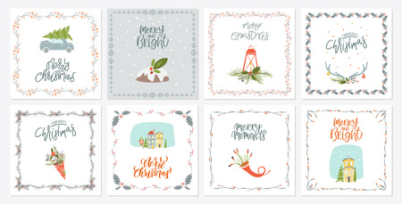 Collection of 8 Merry Christmas and Happy New Year gift cards. Set of hand drawn holiday template Ilustracja
