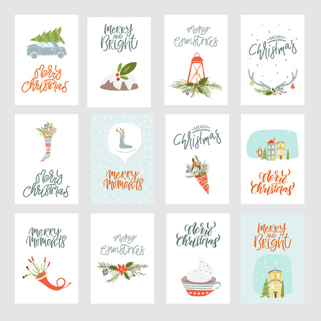 Collection of 12 Merry Christmas and Happy New Year gift cards. Set of hand drawn holiday template for