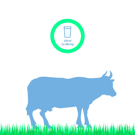 Vector silhouette of the cow. Farm animal on the grass of the pasture. Calcium in milk.