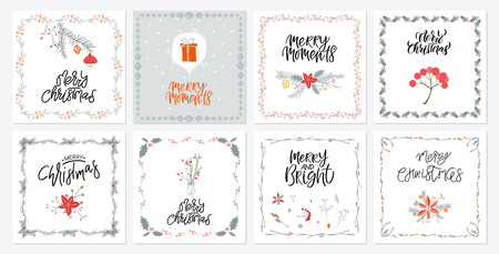 Ornate square winter holidays greeting ollection of 8 cute Merry Christmas gift cards. Set of eight printable hand drawn holiday posters templates. Vector seasonal postcard design.