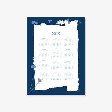 Calendar 2019. Stock vector. Floral bright 2019 calendar. Flower decorative elegant calendar style cyanotype.