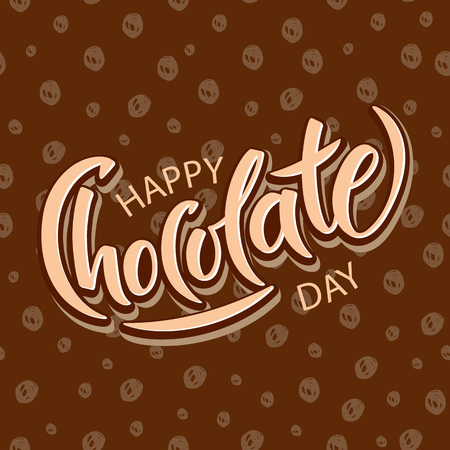 Hand drawn Happy chocolate day typography lettering poster. Celebration quote on textured background for postcard, icon, logo, badge.