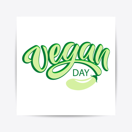 Hand drawn World vegan day typography lettering poster. Celebration quote on textured background for postcard, icon, logo, badge, flyer, placard, greeting, banner. Ilustrace