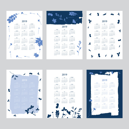 Vector of 2019 new year calendar with plants on cyanotype texture. Holiday event planner. Week Starts Sunday. Set of 12 months.