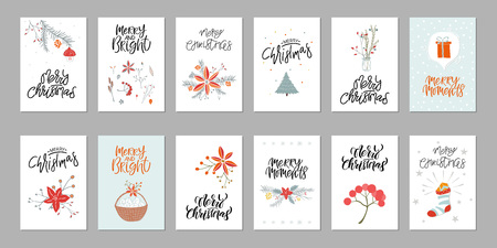 Collection of 12 cute Merry Christmas gift cards. Set of twelve printable hand drawn holiday posters templates. Vector seasonal postcard design.  イラスト・ベクター素材