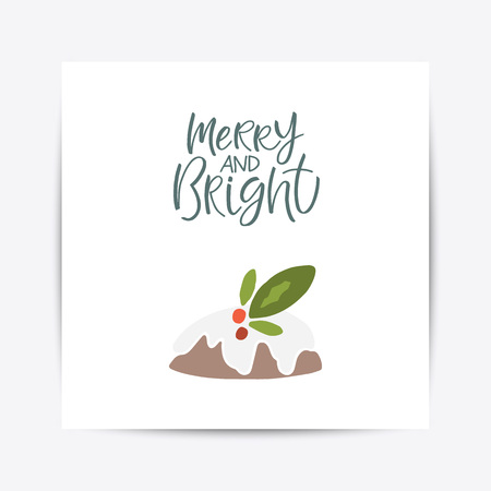 Greeting Card with christmas toys. Merry and bright lettering Template for New 2019 Year Cards and Merry Christmas