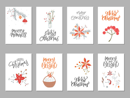 Collection of 8 cute Merry Christmas gift cards. Set of eight printable hand drawn holiday posters templates. Vector seasonal postcard design.