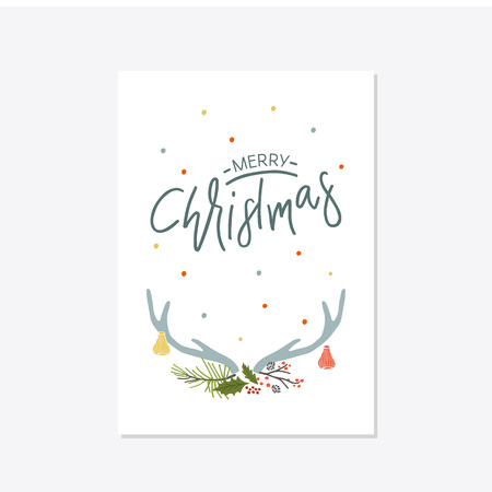 Greeting Card with christmas toys. Merry moments lettering Template for New 2019 Year Cards and Merry Christmas