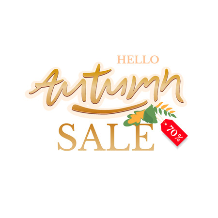 Trendy and elegant autumn background with lettering Hello autumn. Sale banner template Fall seasonal poster or card. Different colored autumn leaves background. Simple minimalistic style. Illustration