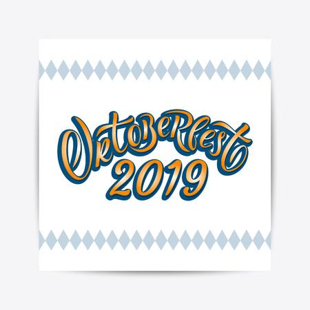 Hand drawn Oktoberfest 2019 typography lettering poster. Illustration of Bavarian festival design.Blue, white lettering typography for logo, poster, card, postcard, logo, badge Ilustrace