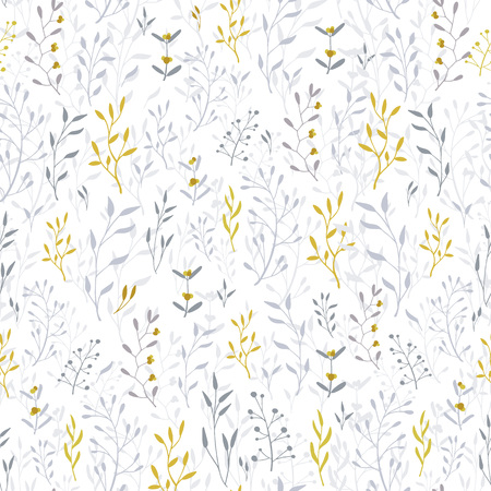Vector Elegant plant background. Hand drawn floral seamless pattern and backdrop. Rustic style with green leaves. Christmas winter flower illustration set. Can be used for cards, invitations, cover, textile, wallpaper. - Vector