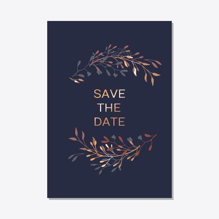Hochzeitseinladung. Kupferne elegante Blumen laden, moderne Karte in den kupfernen Blattgrünniederlassungen dekorativ auf Marineblauhintergrund ein. Elegante rustikale Vorlage des Vektors - Vektor