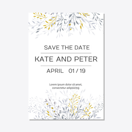 Romantic tender floral design for wedding invitation, save the date, I love you and thank you cards. Floral cards elegant templates. Cards on white background.Vector illustration Ilustracja