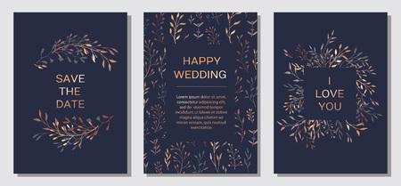 Wedding Invitation. Copper elegant floral invite set, modern card in copper leaf greenery branches decorative on navy blue background. Vector elegant rustic template - Vector Illustration