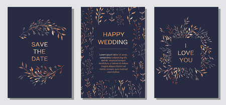 Wedding Invitation. Copper elegant floral invite set, modern card in copper leaf greenery branches decorative on navy blue background. Vector elegant rustic template - Vector Illustration