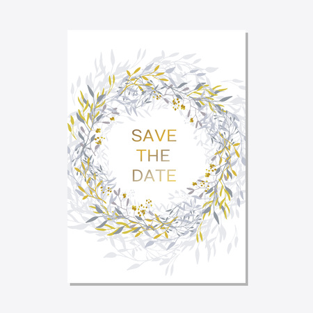 Romantic tender floral design for wedding invitation, save the date, I love you and thank you cards. Floral cards elegant templates. Cards on white background.Vector illustration Ilustração