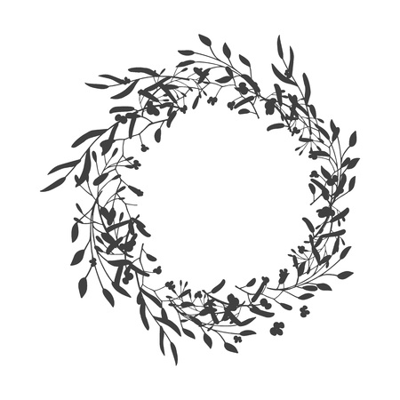 Wreath of leaves, plants, branches and flowers with white background. Hand drawn for cards, invitations, logo, greeting, wedding invite template illustration. - Vector Banque d'images - 122776177