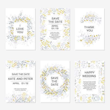 Romantic tender floral design for wedding invitation, save the date, I love you and thank you cards. Floral cards elegant templates. Set cards on white background.Vector illustration 스톡 콘텐츠 - 125281313