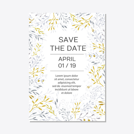 Romantic tender floral design for wedding invitation, save the date, I love you and thank you cards. Floral cards elegant templates. Cards on white background.Vector illustration Banque d'images - 125281314