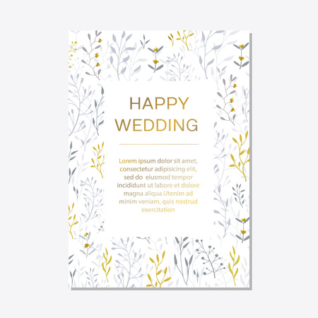 Romantic tender floral design for wedding invitation, save the date, I love you and thank you cards. Floral cards elegant templates. Cards on white background.Vector illustration Illustration